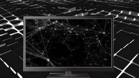 显示连接线的计算机的数字动画 股票录像