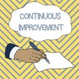 显示连续的改善的概念性手文字 企业照片陈列的持续的努力改进产品或 向量例证