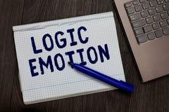 显示逻辑情感的概念性手文字 开放企业照片文本令人不快的感觉被转动对自尊心合理的头脑 免版税图库摄影