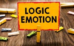 显示逻辑情感的概念性手文字 陈列令人不快的感觉的企业照片转向了自尊心合理的分钟 图库摄影