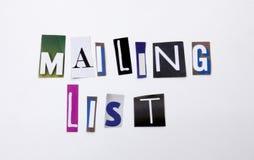 显示邮件表的概念词文字文本由企业案件的另外杂志报纸信件制成在白色bac 免版税库存图片