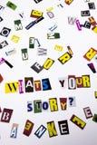 显示郑在` s的概念您的故事问题的词文字文本由企业案件的o另外杂志报纸信件制成 图库摄影