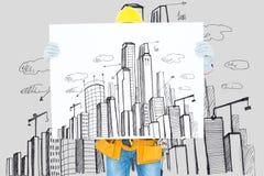 显示都市风景计划的建筑师反对都市风景图画背景 免版税库存图片