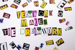 显示配合的概念词文字文本做梦想工作由企业案件的另外杂志报纸信件制成 库存照片
