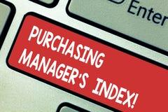 显示采购管理员S索引的文本标志 经济健康概念性照片显示analysisufacturing的键盘键的 免版税库存照片