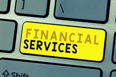 显示金融服务的文本标志 概念性照片金钱和投资谎话抵押品发行家 库存照片