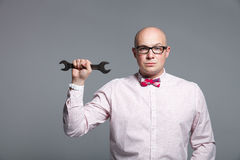 显示销售工具的企业教练员演播室画象 免版税图库摄影