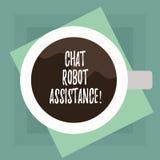 显示闲谈机器人协助的概念性手文字 企业照片文本答复客服问题和 向量例证