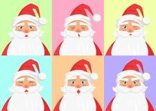 显示集合从圣诞老人的不同的情感 库存照片
