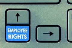 显示雇员权利的文字笔记 陈列所有雇员的企业照片有基本权利在他们自己的工作场所 免版税库存照片