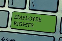 显示雇员权利的文字笔记 陈列所有雇员的企业照片有基本权利在他们自己的工作场所 库存图片
