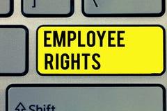 显示雇员权利的文本标志 概念性照片所有雇员有基本权利在他们自己的工作场所 库存照片