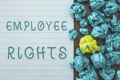 显示雇员权利的概念性手文字 企业照片文本所有雇员有基本权利在他们自己的工作场所 库存图片