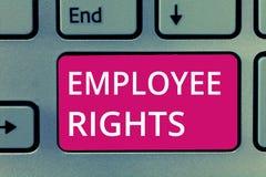 显示雇员权利的概念性手文字 陈列所有雇员的企业照片有基本权利在他们自己的工作场所 库存图片