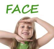 显示面孔的逗人喜爱的小女孩在学会英国词的身体局部在学校 库存照片