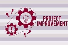 显示项目改善的概念性手文字 企业照片文本完成的方法技术被定义 皇族释放例证