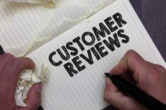 显示顾客回顾的文本标志 使用了拿着标志n的人的客户或服务做的概念性照片回顾产品 库存例证
