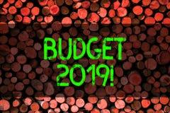 显示预算的概念性手文字2019年 支出和收入的企业照片陈列的估计潮流的 免版税图库摄影