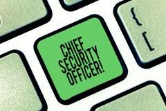 显示首席警卫的概念性手文字 陈列analysisages的企业照片组织s是 免版税库存照片