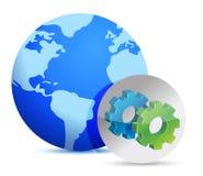 显示齿轮的地球和标志。 免版税库存照片