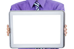 显示黑屏片剂的商人 免版税库存照片