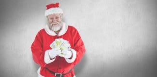显示货币笔记的圣诞老人的综合图象 免版税库存图片