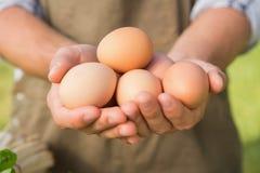 显示他的有机鸡蛋的农夫 免版税库存图片