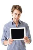 显示他的片剂个人计算机屏幕的人 库存照片