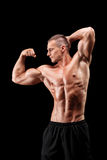 显示他的肌肉的男性爱好健美者 库存图片