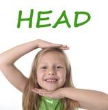 显示头的逗人喜爱的小女孩在身体局部学会英国词在学校 免版税图库摄影