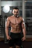 显示他训练有素的身体的健身房的人 免版税库存图片