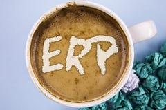 显示Erp的概念性手文字 企业照片陈列的企业资源计划与自动化后台系统作用wr 免版税图库摄影