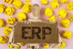 显示Erp的概念性手文字 企业照片陈列的企业资源计划与自动化后台系统作用wr 免版税库存图片
