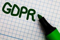 显示GDPR的文字笔记 陈列一般数据保护章程保密性EU法律服从座标图纸3月的企业照片 库存照片