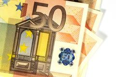 50显示Halogram,特写镜头的欧元钞票 免版税库存照片