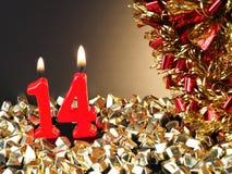 显示Nr的红色蜡烛 14 免版税库存照片