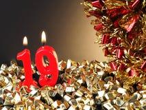 显示Nr的红色蜡烛 19 免版税库存图片