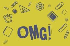 显示Omg的文字笔记 企业照片陈列用于表达震动兴奋怀疑SMS抄了近路表示 库存例证