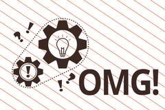 显示Omg的文本标志 概念性照片用于表达震动兴奋怀疑SMS抄了近路表示 向量例证
