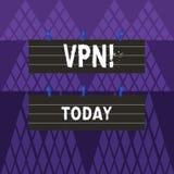 显示Vpn的文本标志 概念性照片横跨机要领域的被巩固的虚拟专用网络保护了两种颜色 向量例证