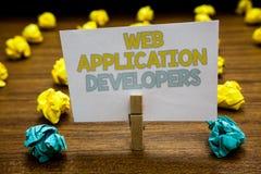 显示Web应用程序开发商的文字笔记 企业照片陈列的互联网编程的专家技术软件Writte 图库摄影
