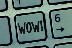 显示Wow的概念性手文字 陈列引起轰动的成功的企业照片打动并且激发明确的某人 免版税库存图片