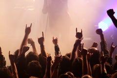 晃动在音乐会的人群 免版税图库摄影