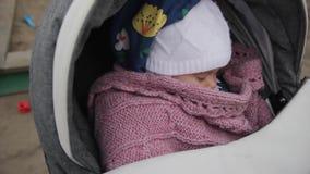 晃动婴儿车特写镜头的母亲 在模糊的背景的沙盒 股票视频