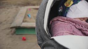 晃动摇篮车镇定的婴孩,婴孩的公园的年轻妈妈在婴儿推车睡觉 股票视频