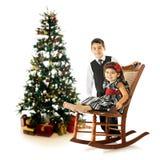 晃动的圣诞节孩子 库存照片