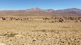 晃动谷 瓦尔De Las Rocas在玻利维亚的阿尔蒂普拉诺高原在乌尤尼盐沼盐舱内甲板附近的 股票录像