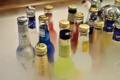 晋州,韩国- 2008年10月24日:各种各样的被装瓶的啤酒特写镜头  库存图片