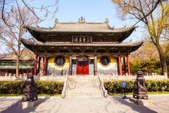 晋祠纪念寺庙(博物馆)场面。镜子大阳台 免版税库存照片