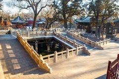 晋祠纪念寺庙(博物馆)场面。驾驶桥楼 免版税库存图片
